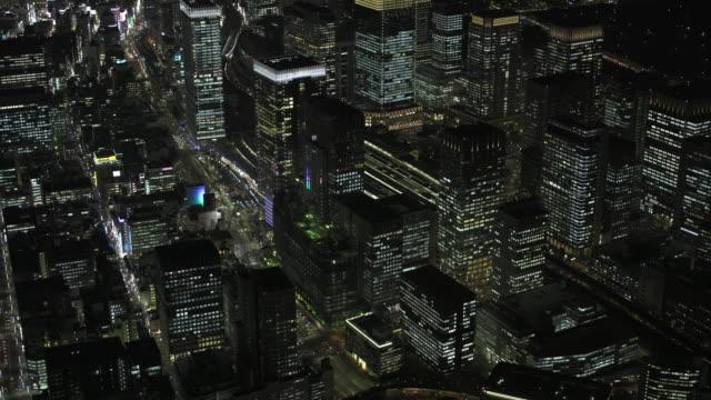 tokyo night aerial image - tokyo station - 夜点の映像素材/bロール