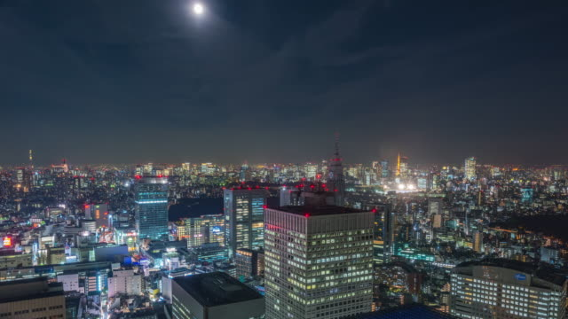 vídeos de stock, filmes e b-roll de tokyo nightscape time-lapse - high dynamic range imaging