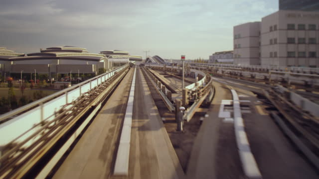tokyo, odaiba train ride t/l afternoon - tilt shift stock videos and b-roll footage