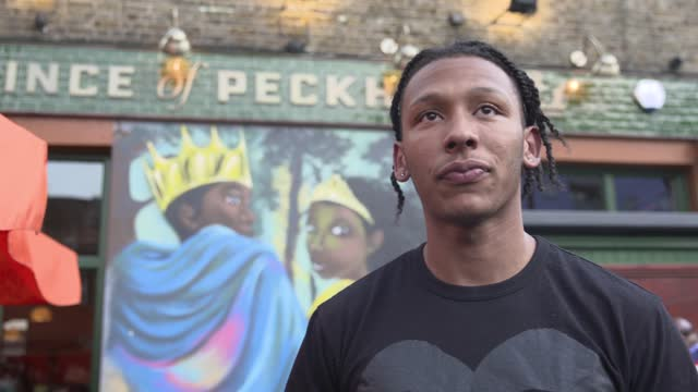 tokyo olympic games: kye whyte homecoming party and interview; england: london: peckham: prince of peckham pub: ext kye white interview - including... - gesturing stock videos & royalty-free footage