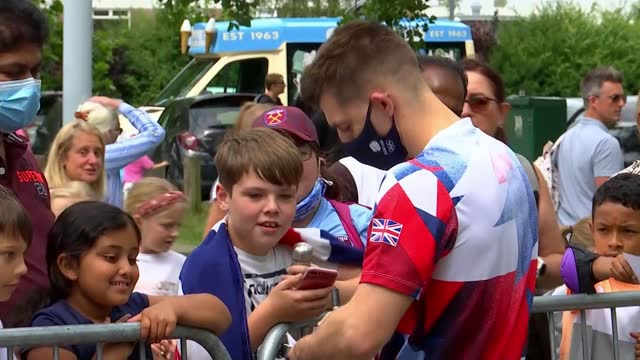 tokyo olympic games: max whitlock returns home to essex with pommel horse gold; england: essex: basildon: int max whitlock interview sot cutaway... - autographing stock videos & royalty-free footage