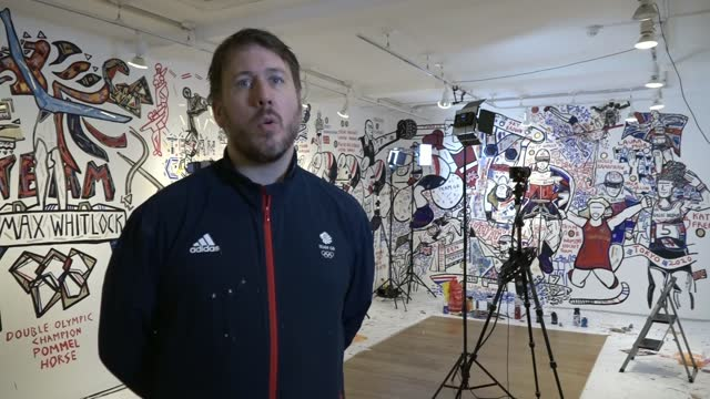 tokyo olympic games: official artist for team gb capturing every medal on carnaby street mural; england: london: soho: carnaby street: ext ben mosley... - pursuit concept stock videos & royalty-free footage