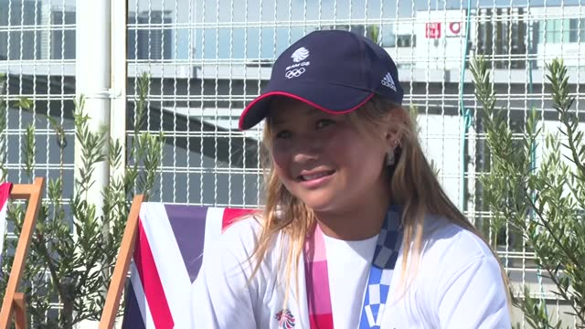 """tokyo olympic games: sky brown interview; japan: tokyo: ext sky brown interview sot. q - """"seems a very grown up attitude...great mates?"""" a - """"yeah... - only teenage girls stock videos & royalty-free footage"""