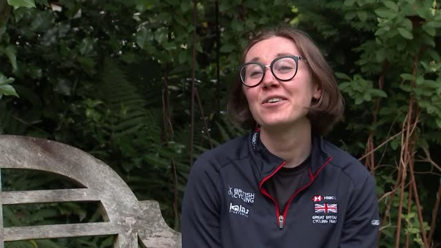 tokyo olympic games: track cycling: katie archibald prepares for team pursuit event; uk; katie archibald training in pop-up greenhouse tent, riding... - helmet stock videos & royalty-free footage