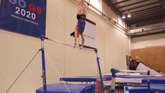 Team GB interviews and training GVs JAPAN Claudia Fragapane interview SOT Various of Fragapane training on asymmetric bars / various of gymnasts
