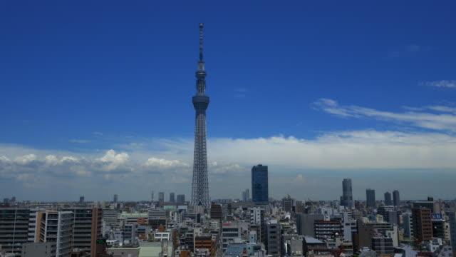 tokyo sky tree and blue sky - スカイツリー点の映像素材/bロール