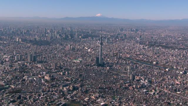 tokyo sky tree and mt fuji aerial - スカイツリー点の映像素材/bロール