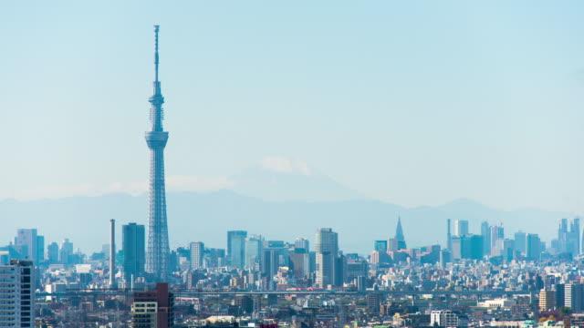 tokyo sky tree and m't fuji time lapse - スカイツリー点の映像素材/bロール