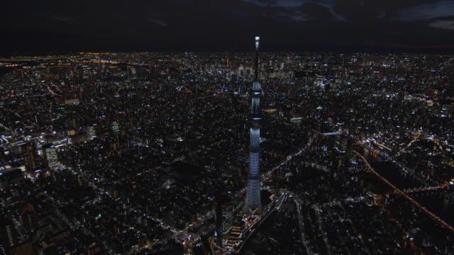 tokyo sky tree light up aerial at night,tokyo,japan - スカイツリー点の映像素材/bロール