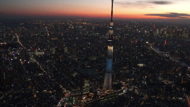 Tokyo Sky tree light up Aerial view from helicopter