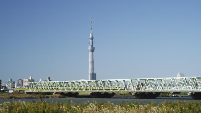tokyo sky tree tower and sobu line train in tokyo,japan - スカイツリー点の映像素材/bロール