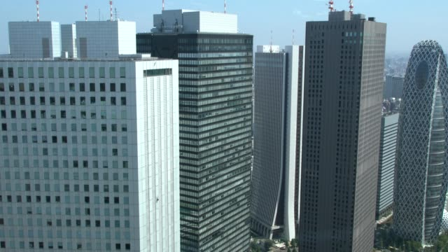 tokyo skyline and skyscapers seen from the tokyo metropolitan government in in shinjuku, tokyo, japan - ビル点の映像素材/bロール