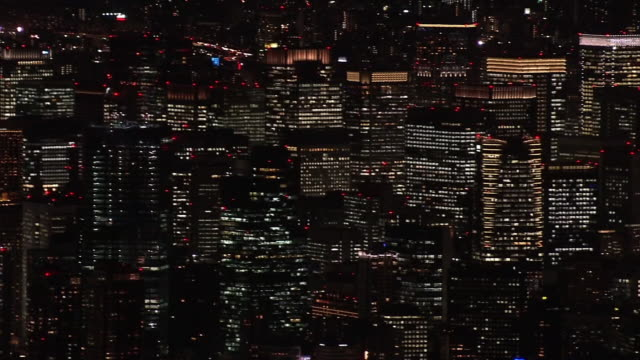 aerial, tokyo skyline at night, japan - roppongi hills stock videos and b-roll footage