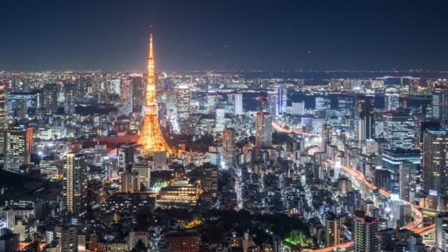 vídeos de stock, filmes e b-roll de t/l ws ha zi tokyo skyline at night / tokyo, japan - ponto turístico