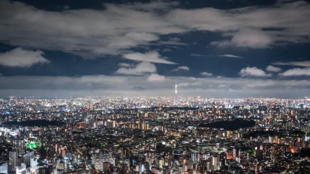 T/L WS HA ZI Tokyo Skyline at Night / Tokyo, Japan