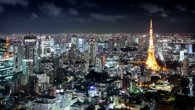 tokyo skyline at night - tokyo japan stock videos and b-roll footage
