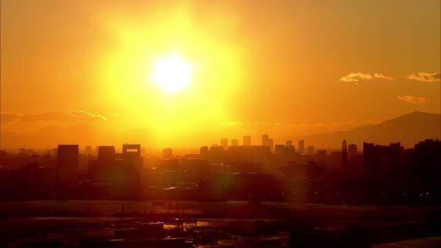 AERIAL, Tokyo Skyline At Sunset, Japan
