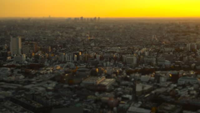 tokyo skyline at sunset | tilt-shift - plusphoto stock videos & royalty-free footage