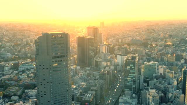tokyo skyline at sunset - tokyo japan stock videos & royalty-free footage