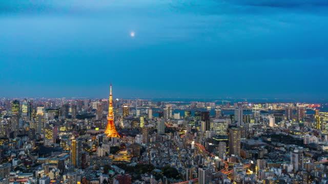 東京スカイライン夜のタイムラプスに日 - 昼から夜点の映像素材/bロール