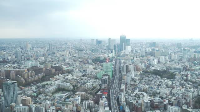 vídeos de stock e filmes b-roll de tokyo skyline from above - bairro de shinjuku