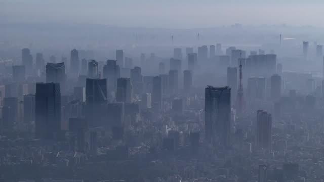 AERIAL, Tokyo Skyline In Fog, Japan
