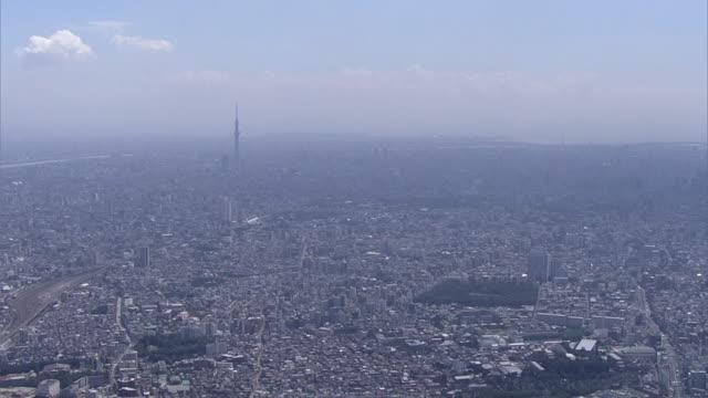 aerial, tokyo skyline, japan - stadtviertel stock-videos und b-roll-filmmaterial