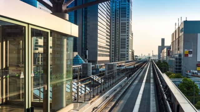 東京スカイライン自動鉄道、ゆりかもめから移動 - 歪んだ点の映像素材/bロール