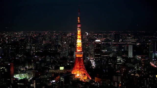 tokyo skyline night time - tokyo tower stock videos and b-roll footage