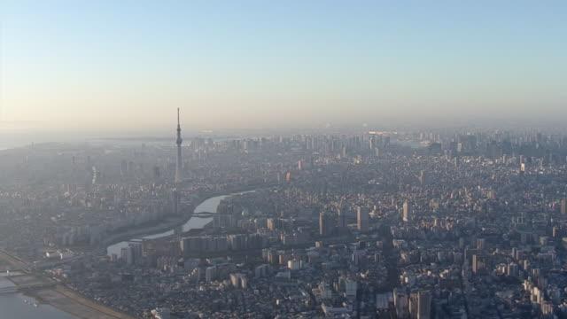 aerial, tokyo skyline on year's first morning, japan - 正月点の映像素材/bロール
