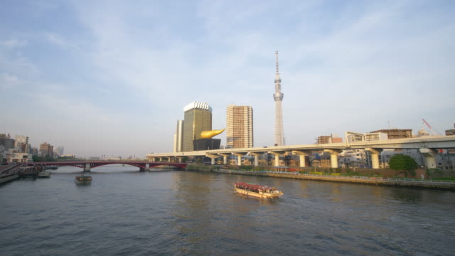tokyo skyline over the river - tokyo bay stock videos and b-roll footage