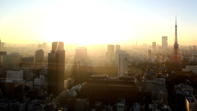 tokyo skyline sunset - panoramic stock videos and b-roll footage