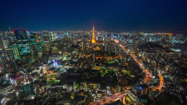 tokyo skyline timelapse at night - tokyo japan stock videos and b-roll footage