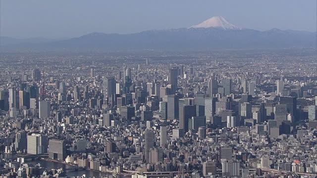 AERIAL, Tokyo Skyline With Mt Fuji, Japan
