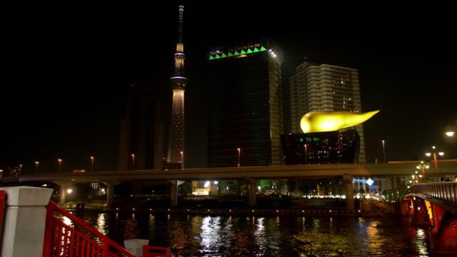 vídeos de stock, filmes e b-roll de tokyo skytree over the sumida river - ponto turístico