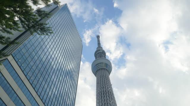 la ws tokyo skytree, sumida ward, tokyo, japan - low angle view stock-videos und b-roll-filmmaterial