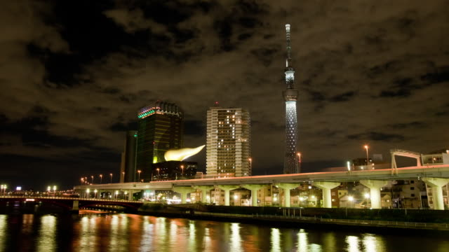 tokyo skytree tower and sumida river at night - shitamachi stock videos and b-roll footage