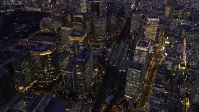 tokyo station aerial at dusk - 駅点の映像素材/bロール