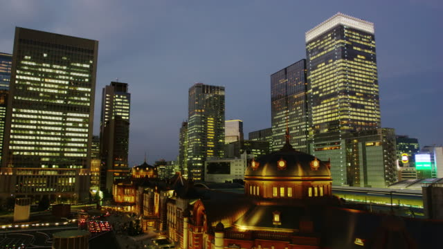Tokyo Station by Night, surrounded by Hi Rise Office Buildings