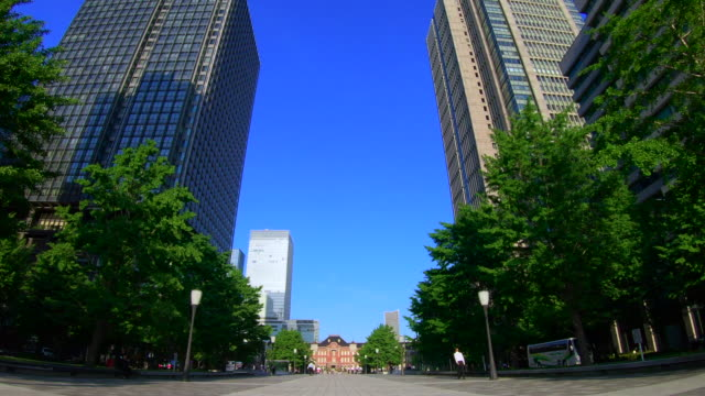 tokyo station direction seen from the otemachi square - avenue stock videos & royalty-free footage