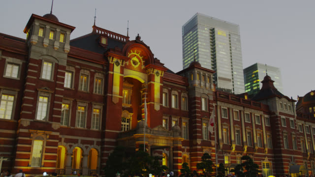 tokyo station hotel and tokyo station - japan flag stock videos & royalty-free footage