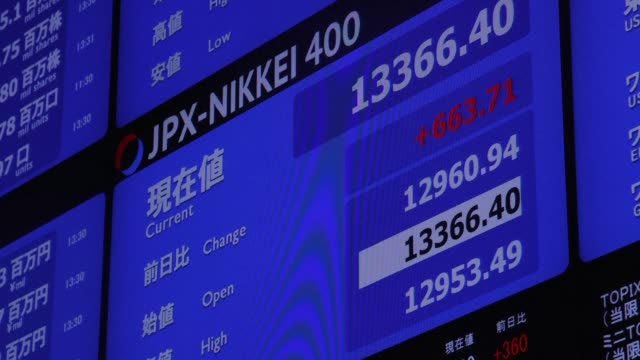 tokyo stocks plunge more than four percent in opening trade with investor sentiment hit by a sell off on wall street and the yen's surge against the... - financial accessory stock videos and b-roll footage
