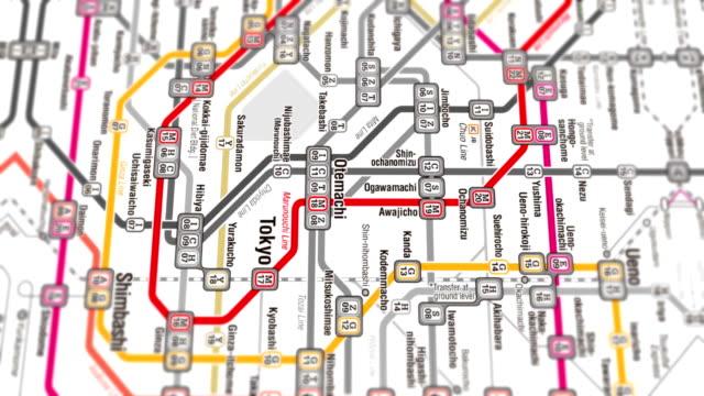 tokyo subway map localization - seamless 4k loop - underground stock videos & royalty-free footage