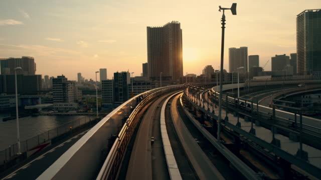 POV Tokyo through a window of lightrail