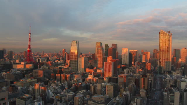 tokyo tower and buildings get sun shine - tokyo japan stock videos and b-roll footage