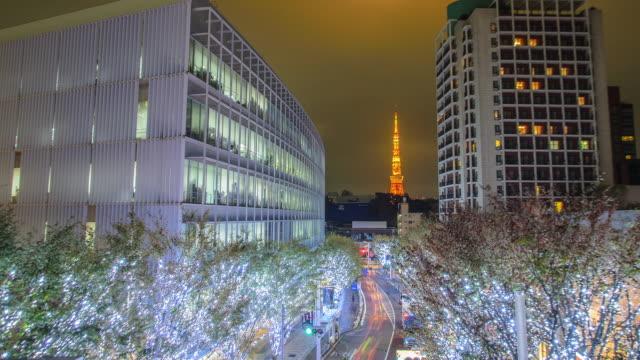 t/l ws: tokyo tower and christmas illuminations in keyakizaka roppongi road tokyo , japan - roppongi hills stock videos and b-roll footage