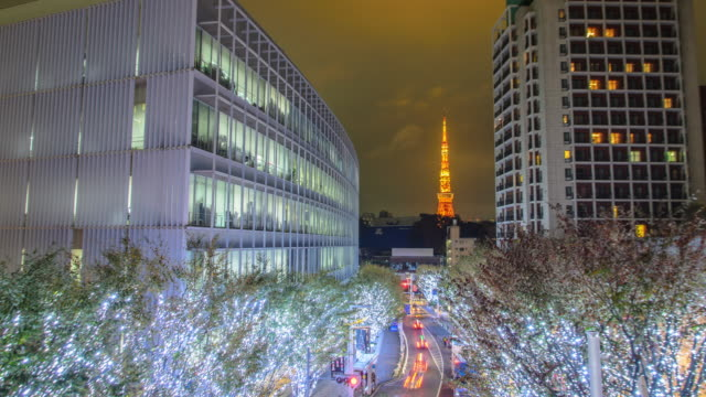 t/l ws: tokyo tower and christmas illuminations in roppongi tokyo , japan - roppongi stock videos and b-roll footage