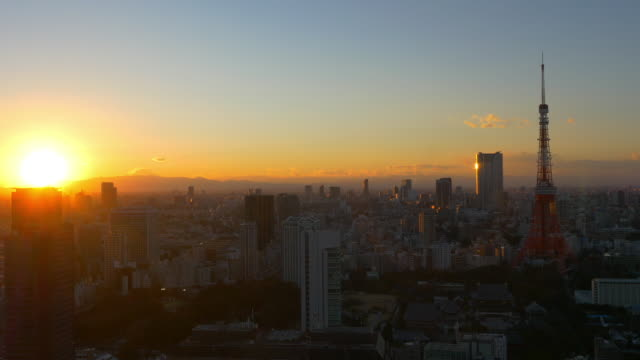 Tokyo Tower and M't fuji sunset