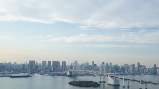 tokyo tower and rainbowbridge view of odaiba - tokyo bay stock videos and b-roll footage