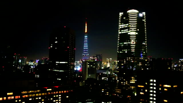 Tokyo Tower and Skyscraper Skyline at Night